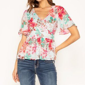 Miss Me Floral Vacation Empire Waist V-Neck Top